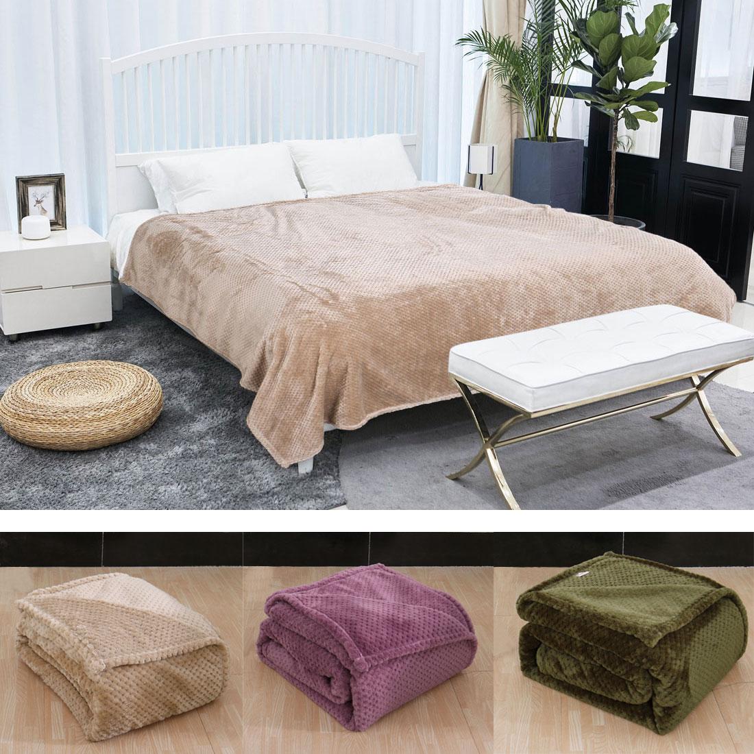 Soft Warm Waffle Fleece Bed Blanket Mesh Flannel Plush Blank