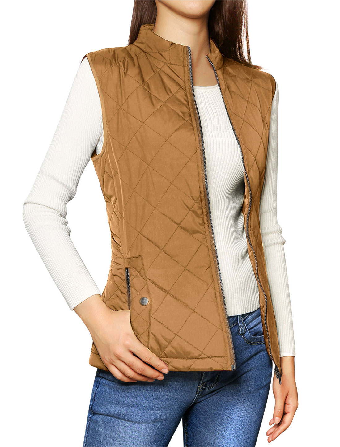 Allegra K Woman Zip Up Front Pockets Quilted Padded Vest
