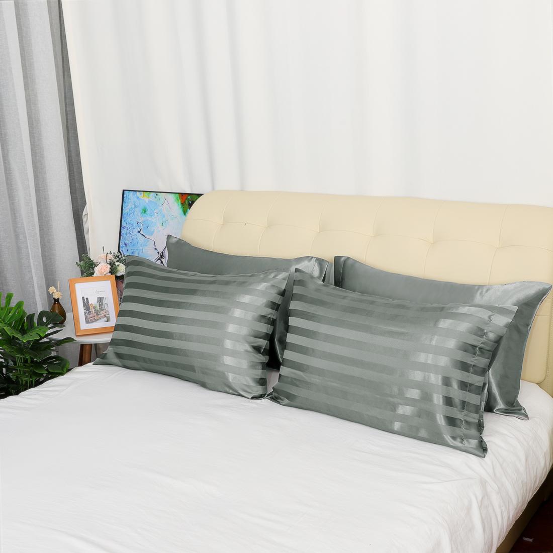 4-piezas-de-suave-saten-funda-de-almohada-mejor-para-el-cabello-y-cara-Estandar-fundas-de-almohada miniatura 16