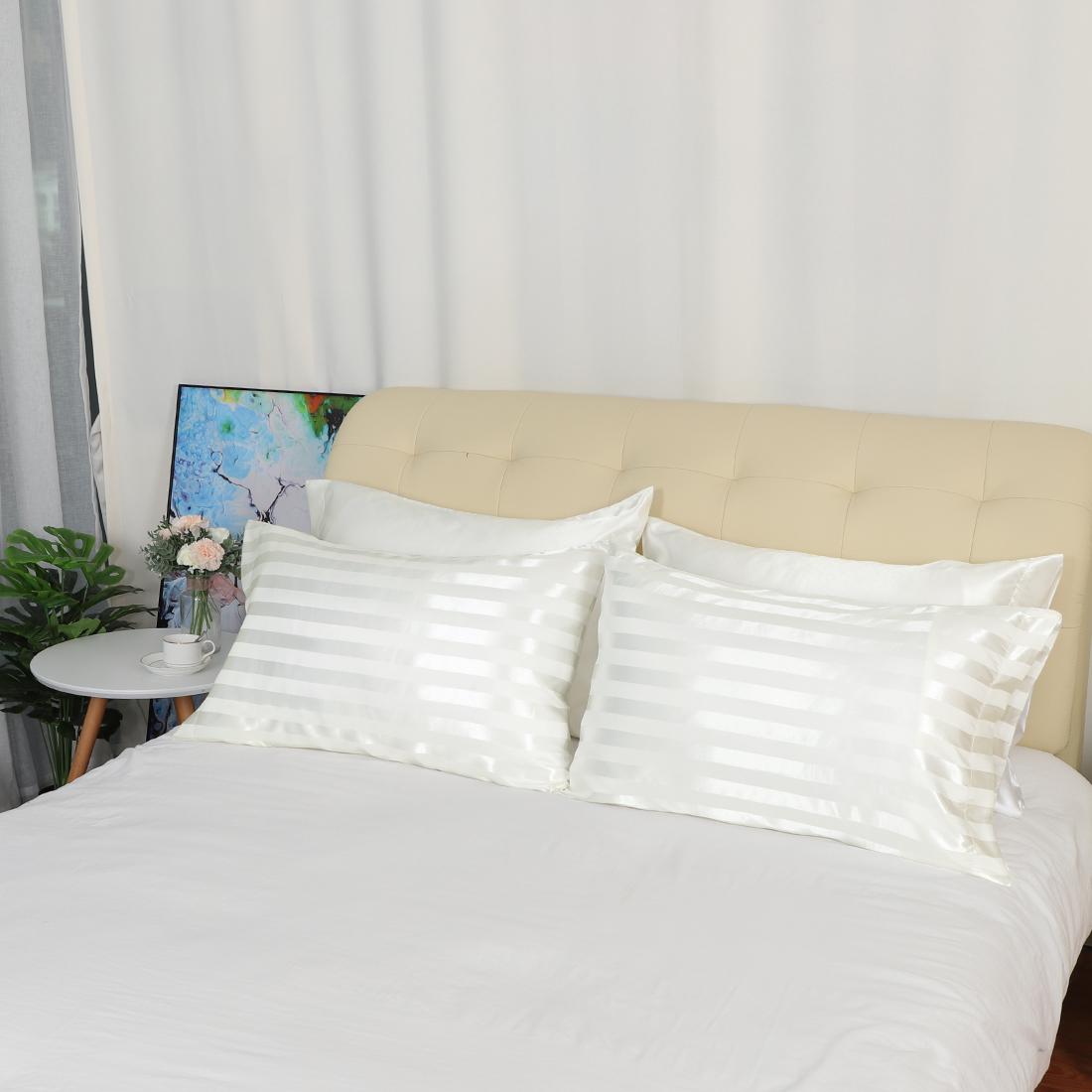 4-piezas-de-suave-saten-funda-de-almohada-mejor-para-el-cabello-y-cara-Estandar-fundas-de-almohada miniatura 14